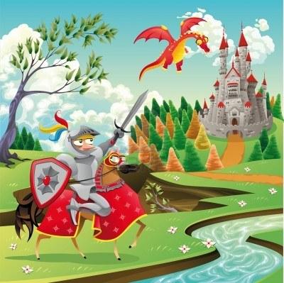 8504665-panorama-con-castello-medievale-drago-e-cavaliere-illustrazione-di-cartone-animato-e-vettoriale
